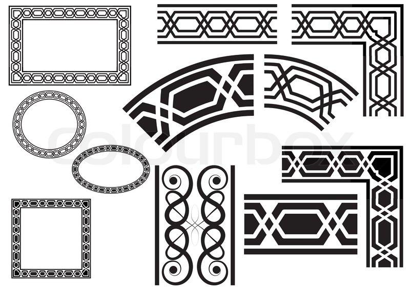 Border, border, corner decorated with geometric designs
