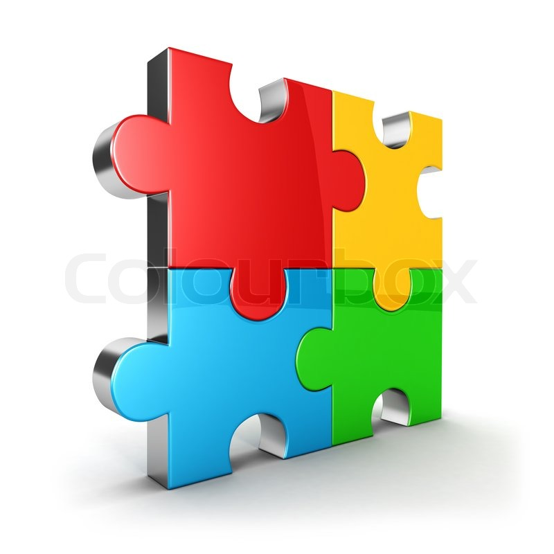 3d Puzzle Icon Four Color Piece Isolated Background Image Stock Photo