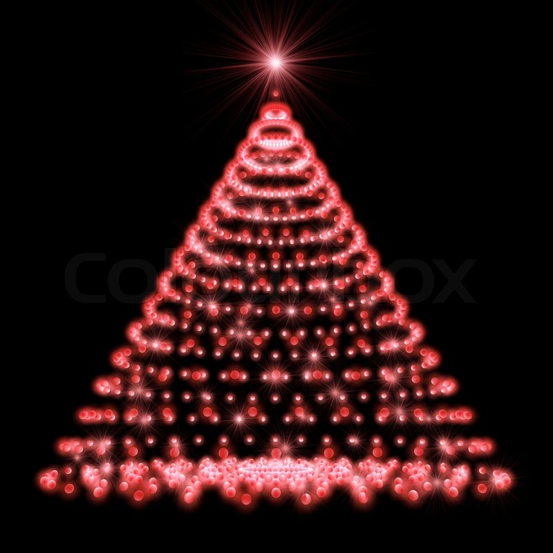 Abstract Christmas tree made of red lights on black background. | Stock  Photo | Colourbox