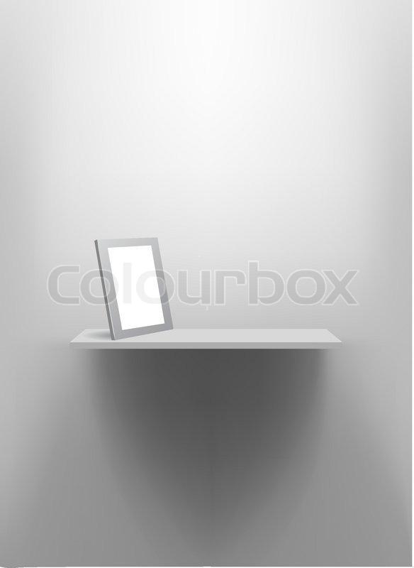 wei e wand regal mit leeren bilderrahmen vektorgrafik colourbox. Black Bedroom Furniture Sets. Home Design Ideas