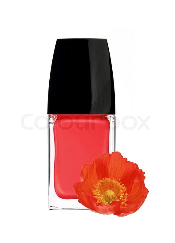 Red Nail Polish And Poppy Flower Isolated On White Background Stock Photo