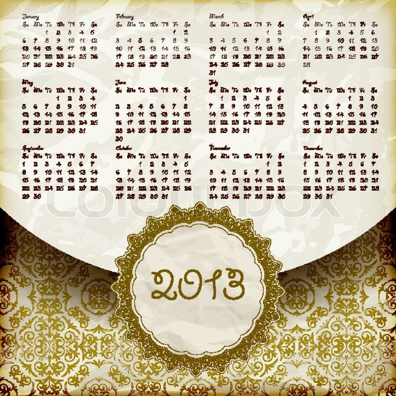 vektor 2013 kalender im retro stil vektorgrafik colourbox. Black Bedroom Furniture Sets. Home Design Ideas
