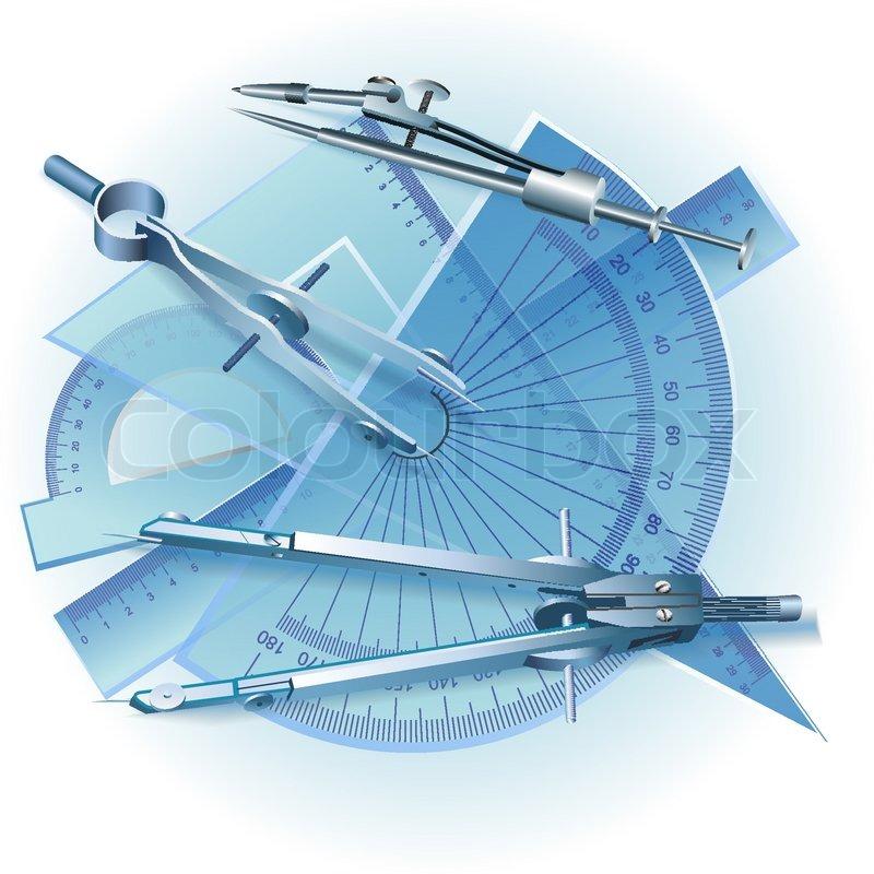 Set Of Drawing Tools Engineering Symbol Vector Clip Art