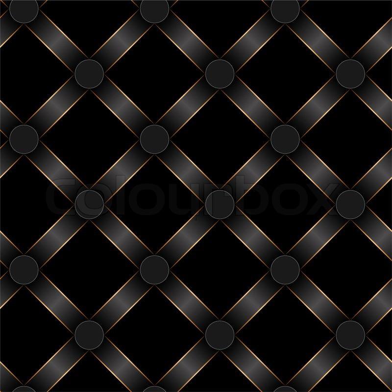 Seamless Black Ribbon And Gold Strip Pattern Stock Photo