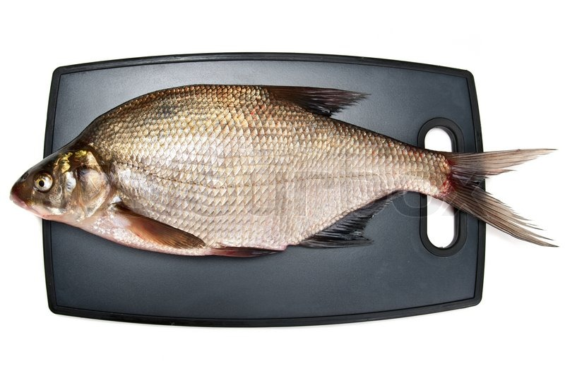 Fresh fish bream on a cutting board on a white background for Fish cutting board