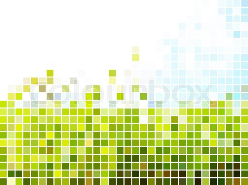 Abstract Light Green And Blue Square Mosaic Background Stock