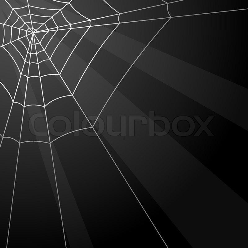 dark vector background with spider web in the corner stock vector