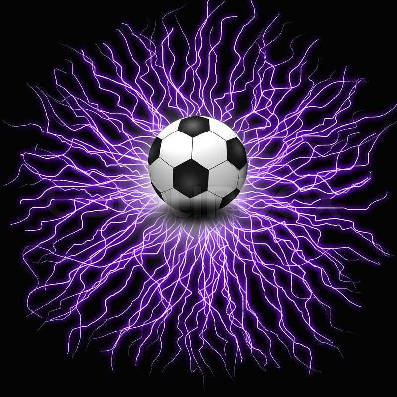 soccer ball on electric background stock photo colourbox