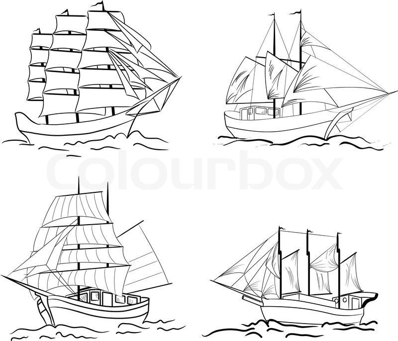set of sketch sailing vessel