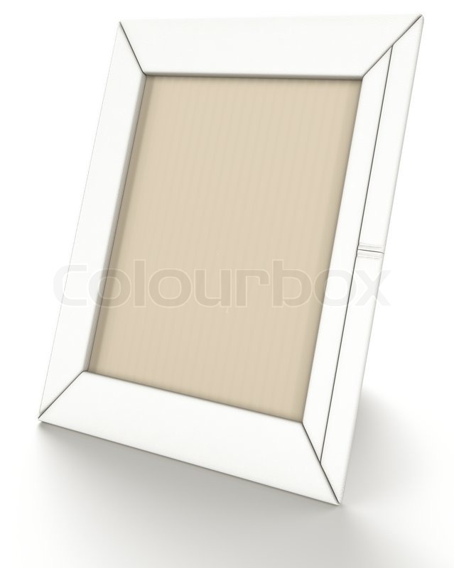 Empty leather photo frame on stand on white | Stock Photo | Colourbox