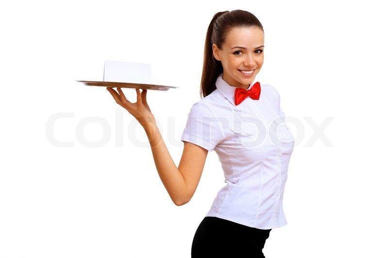 Stock image of 'Portrait of young waitress with an empty tray'