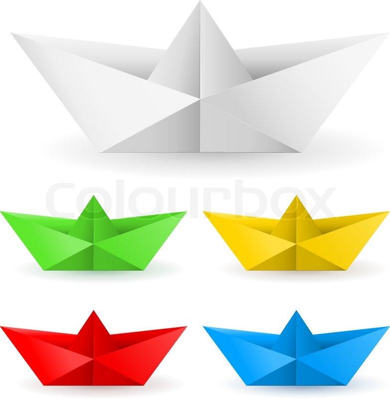 Origami paper boat | Stock Vector | Colourbox