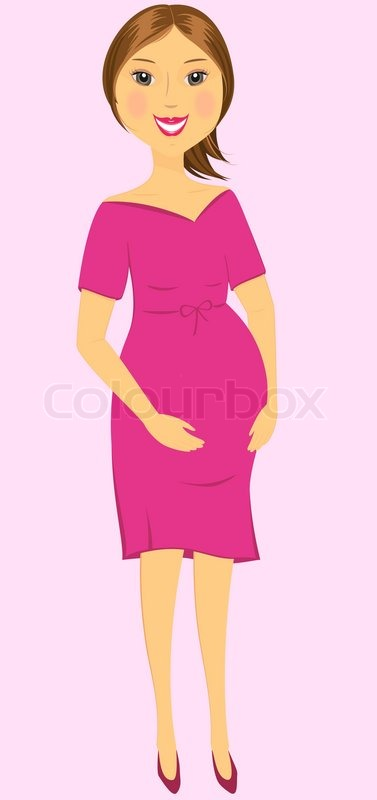 Cartoon isolated beautiful pregnant woman standing on pink ...