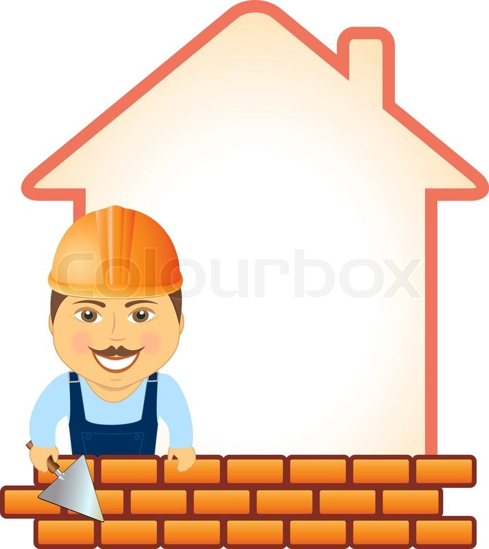 Cartoon smile builder with trowel bricks and house for Free home builder