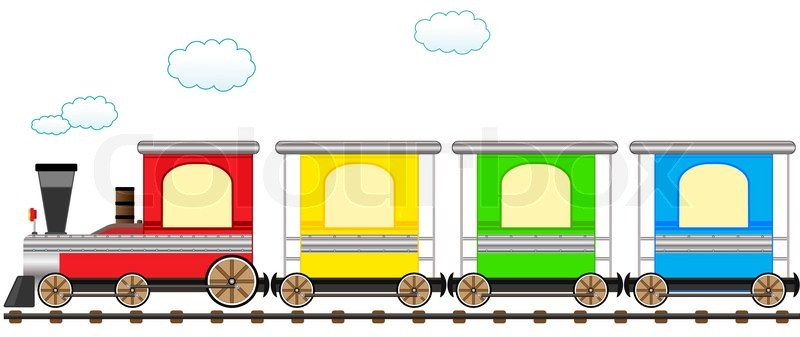 Cartoon isolated cute train with colorful carriage in ...