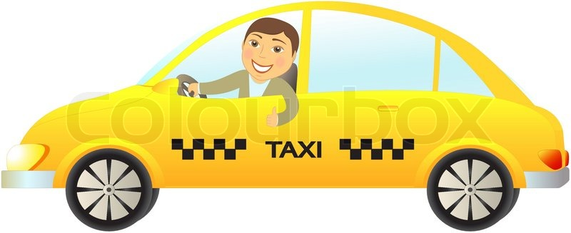 Cartoon Isolated Taxi Car