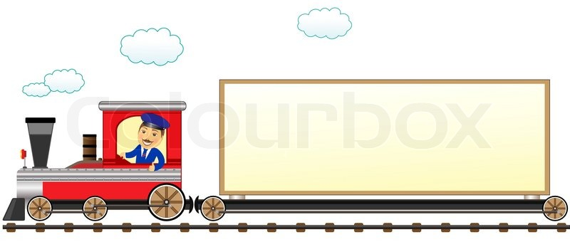 cartoon isolated train with conductor   stock vector