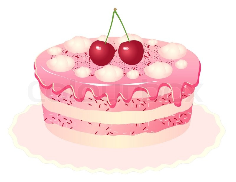 Birthday Cake Images Vektor ~ Pink delicious cake with cream cherries and ice cream stock
