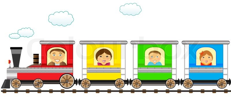 cartoon isolated colorful family train in railroad stock steam train clip art steam engine clipart images