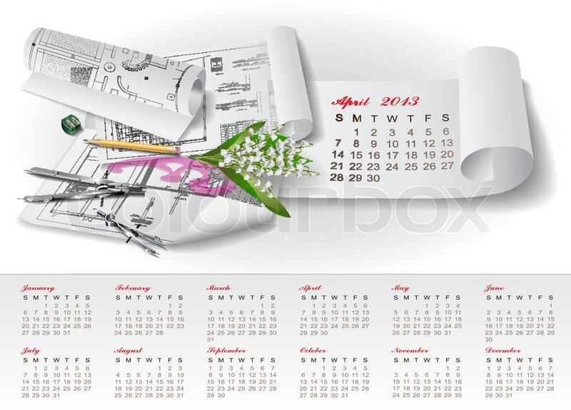 Calendar for 2013 with architectural design elements for Architectural design elements