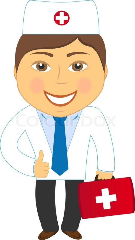 Cartoon Smiling Doctor Ambulance Carrying A Briefcase