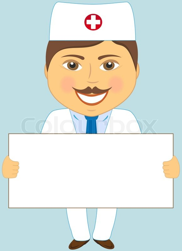 Isolated Cute Doctor With Poster On Blue Background