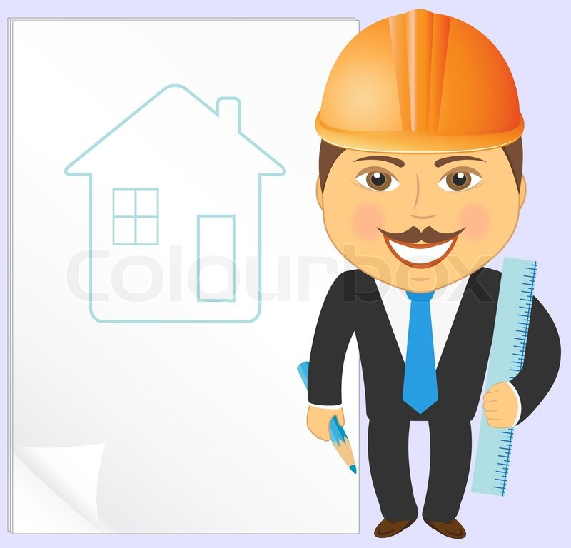 Cartoon engineer with house project, pencil and ruler : Vector ... : free text logo design online : Top Logo Design