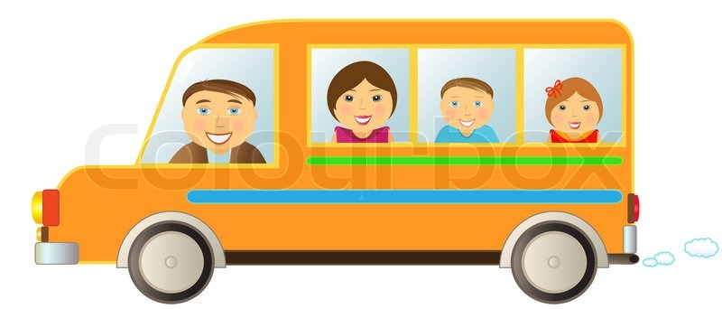 cartoon cheerful family moving in funny bus stock vector Dictionary Clip Art Spanish Clip Art