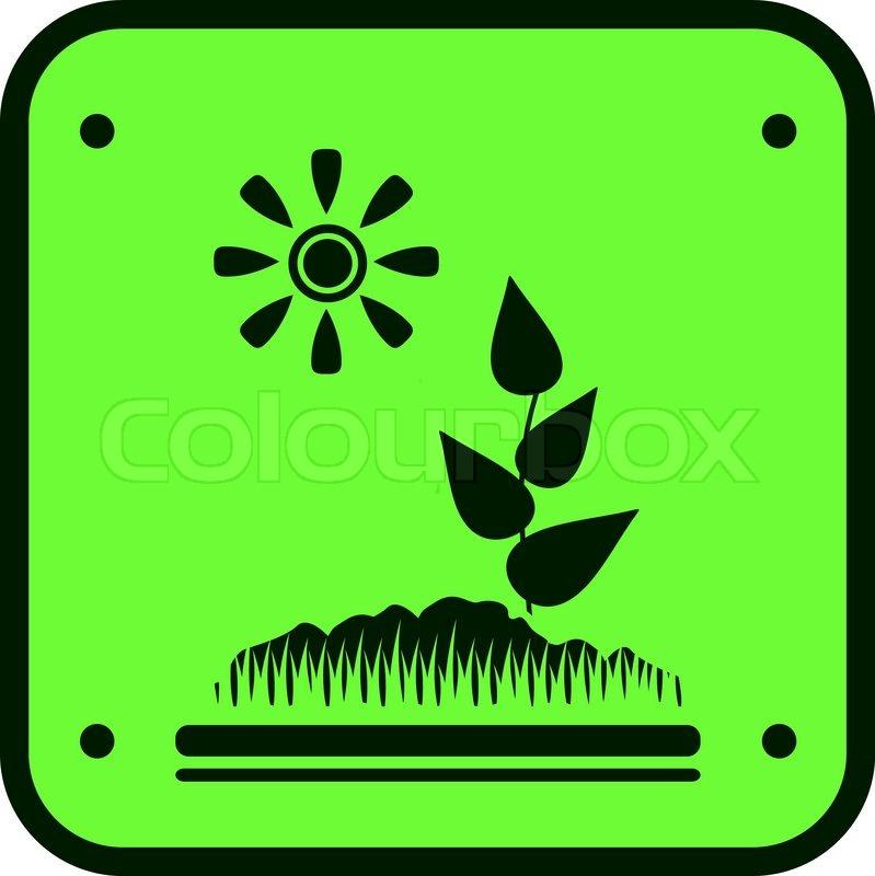 Grüne Garten Symbol mit Boden, Sonne und spriessen silhouette ...