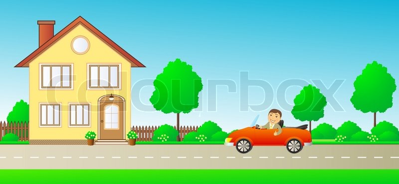 Happy Cartoon Man With Thumb Up In Car Cabriolet On Road