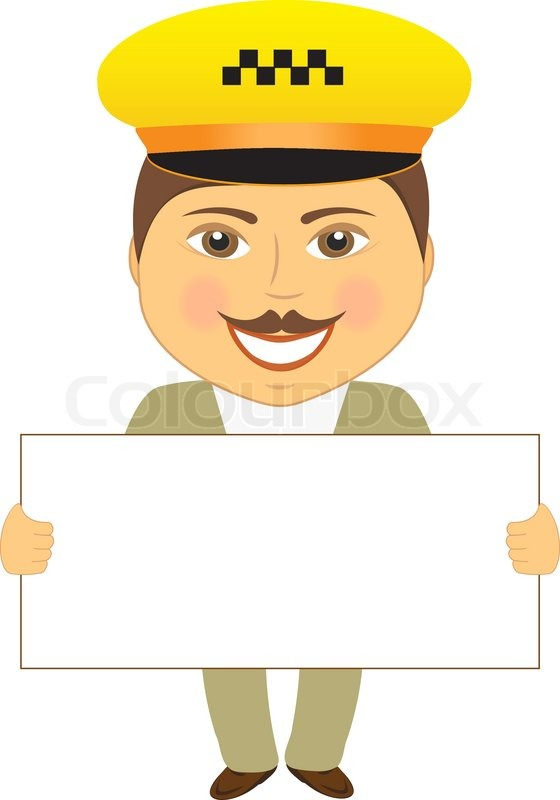 Isolated taxi driver with poster in ... | Stock Vector ...