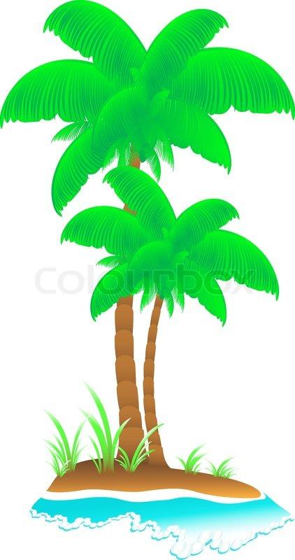 isolierte cartoon tropischen insel mit welle meer palmen und gras vektorgrafik colourbox. Black Bedroom Furniture Sets. Home Design Ideas
