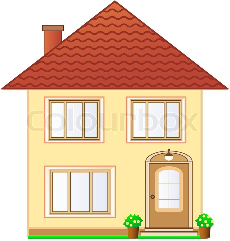 Two Storey Residential House With Attic: Isolated Two Storey Cottage With Attic