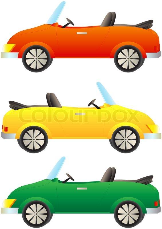set cartoon bunte autos cabrio stock vektor colourbox. Black Bedroom Furniture Sets. Home Design Ideas