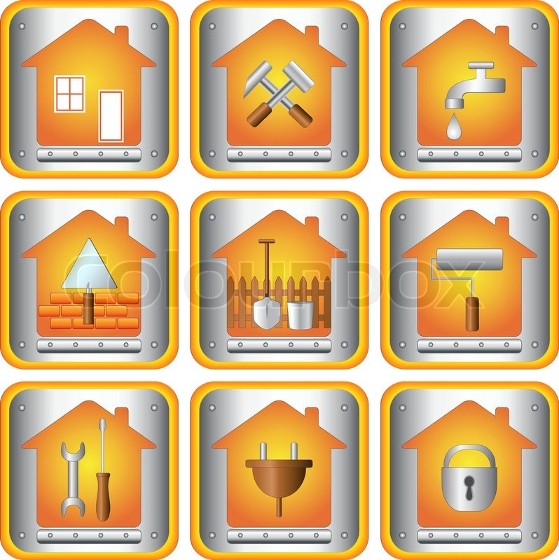 die setzen ikonen mit tools f r haus vektorgrafik colourbox. Black Bedroom Furniture Sets. Home Design Ideas