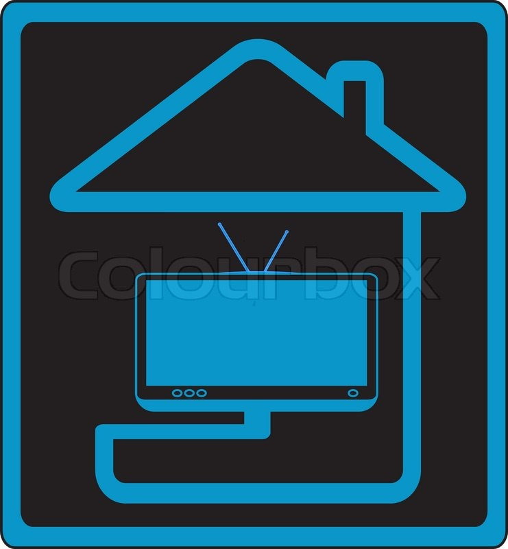 Vector Icon With House And Modern Tv Silhouette Symbol Cable