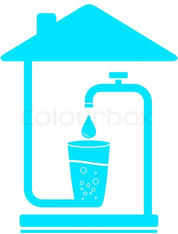Blue sign with glass, drop of water and faucet in house. water ...