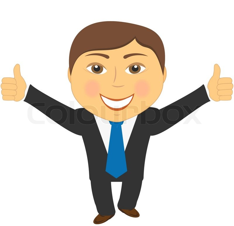 Successful businessman showing thumb up on two hand