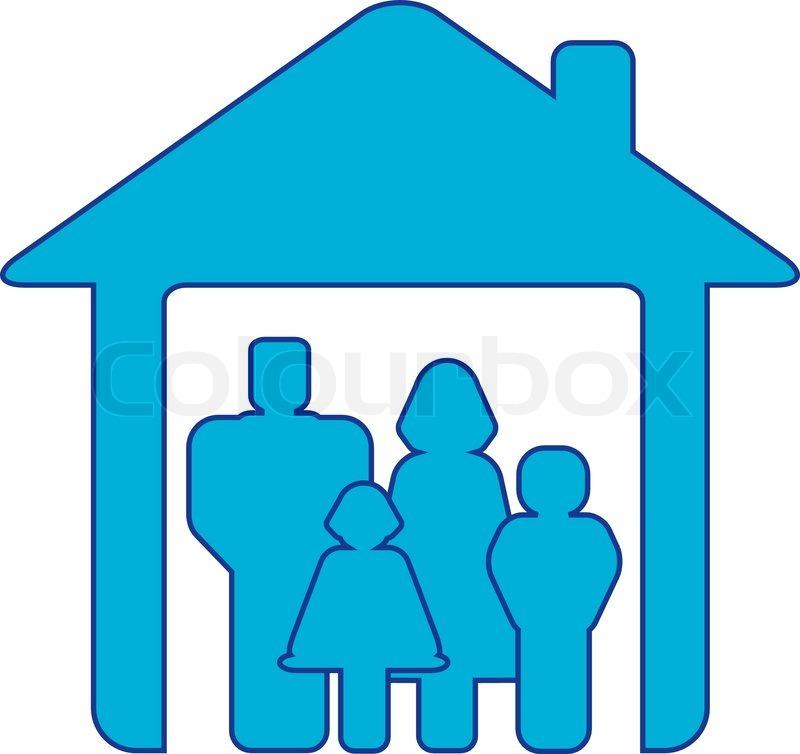 symbol gl ckliche familie mit menschen silhouette im blauen haus vektorgrafik colourbox. Black Bedroom Furniture Sets. Home Design Ideas