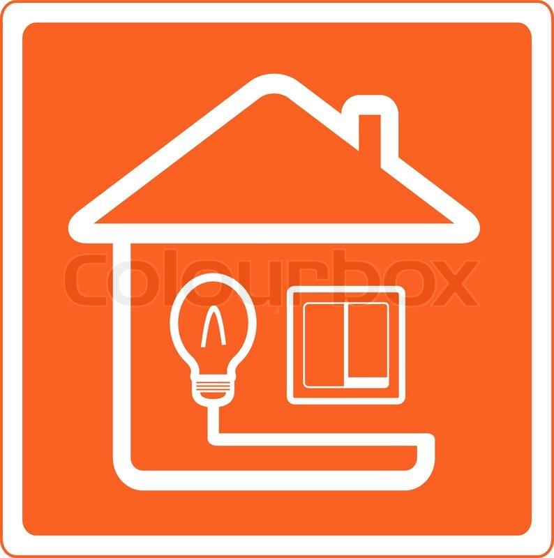 Rotes Symbol von Elektrizität im Haus mit Birne und Lichtschalter ...