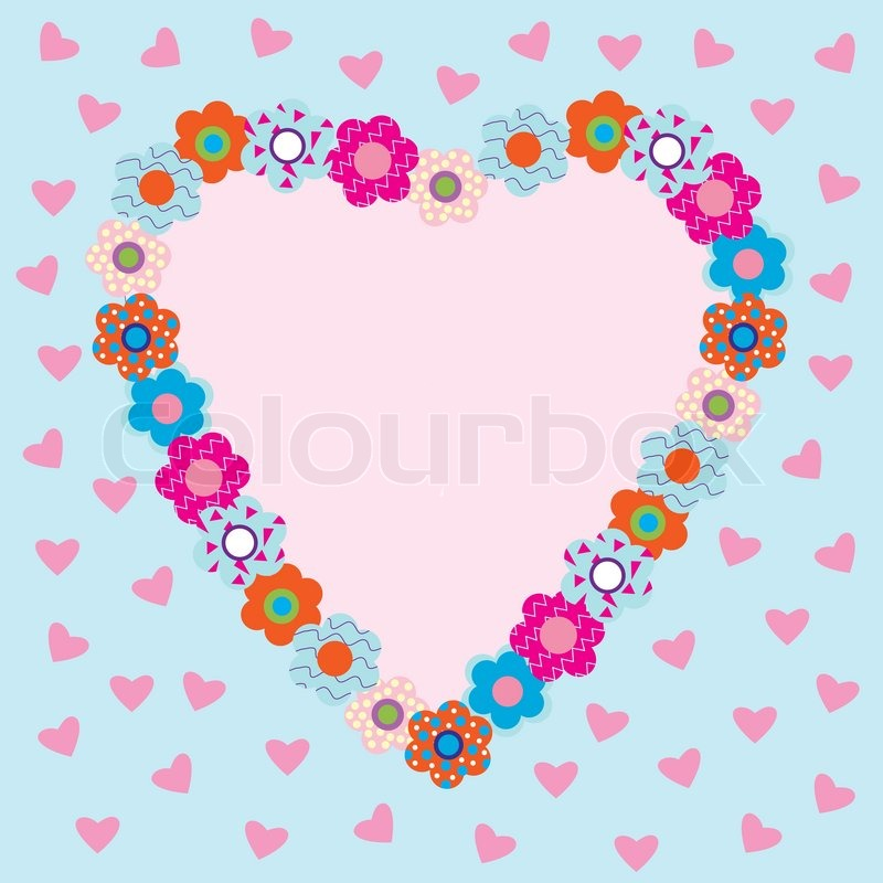 Beautiful heart shaped frame with flowers | Stock Vector | Colourbox