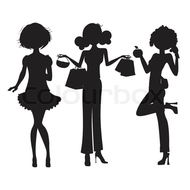 Silhouette Of Three Cute Fashion Girls Isolated On White