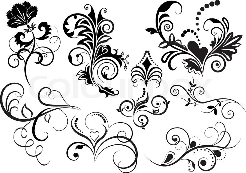Collection of black and white floral design elements stock vector collection of black and white floral design elements stock vector colourbox mightylinksfo