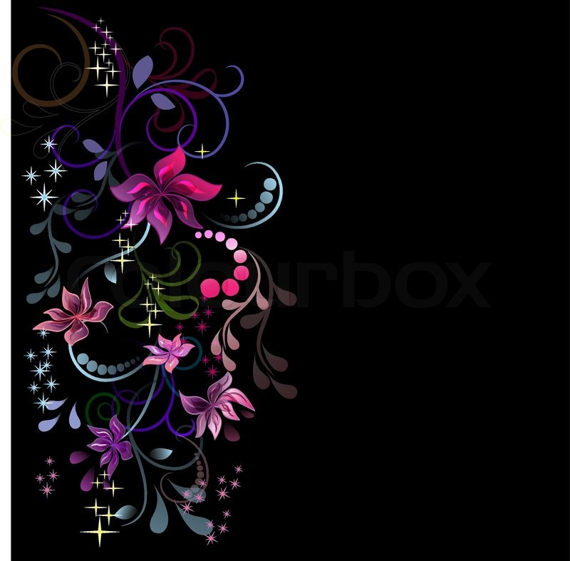 Colorful Flowers Design With Black Stock Vector Colourbox