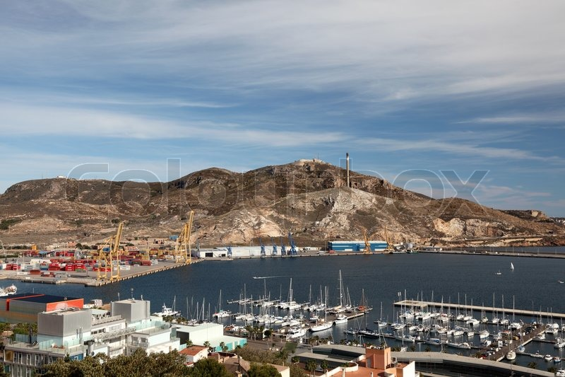 Aerial View Over The Port Of Cartagena, Spain