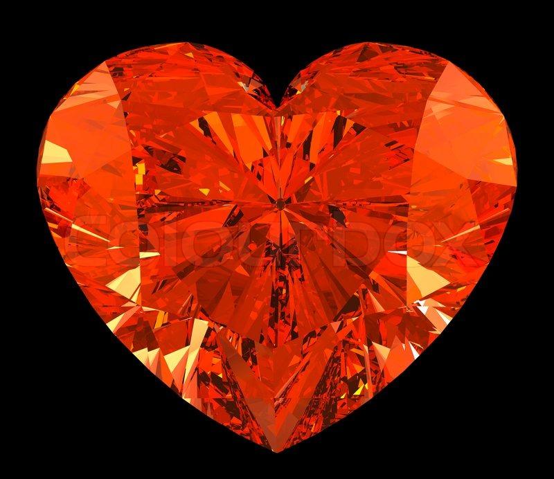 Red Heart Cut Shape Diamond Over Black Stock Photo