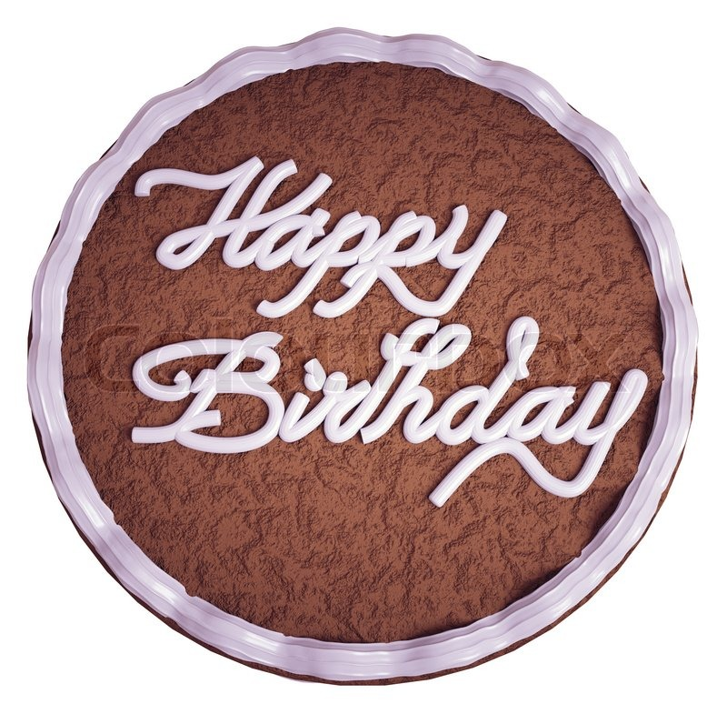 Happy Birthday: Top View Of Cake With Greeting Words