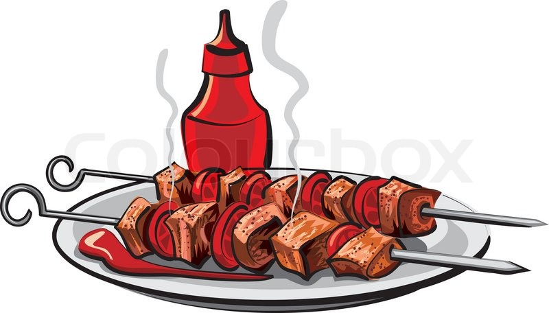 Grilled meat | Stock Vector | Colourbox