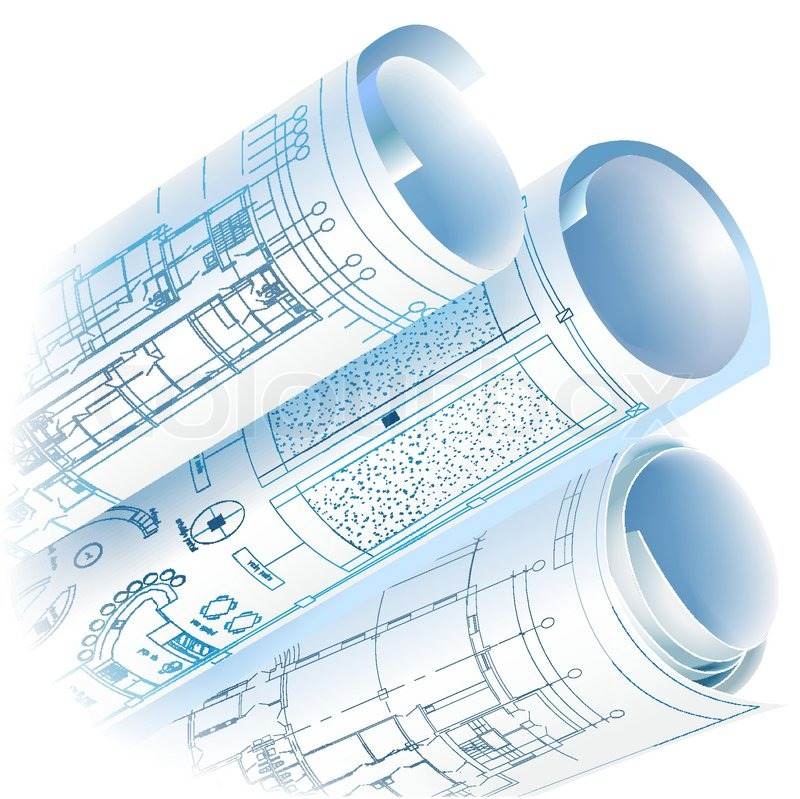 Architectural background with rolls of drawings vector for Architecture blueprint