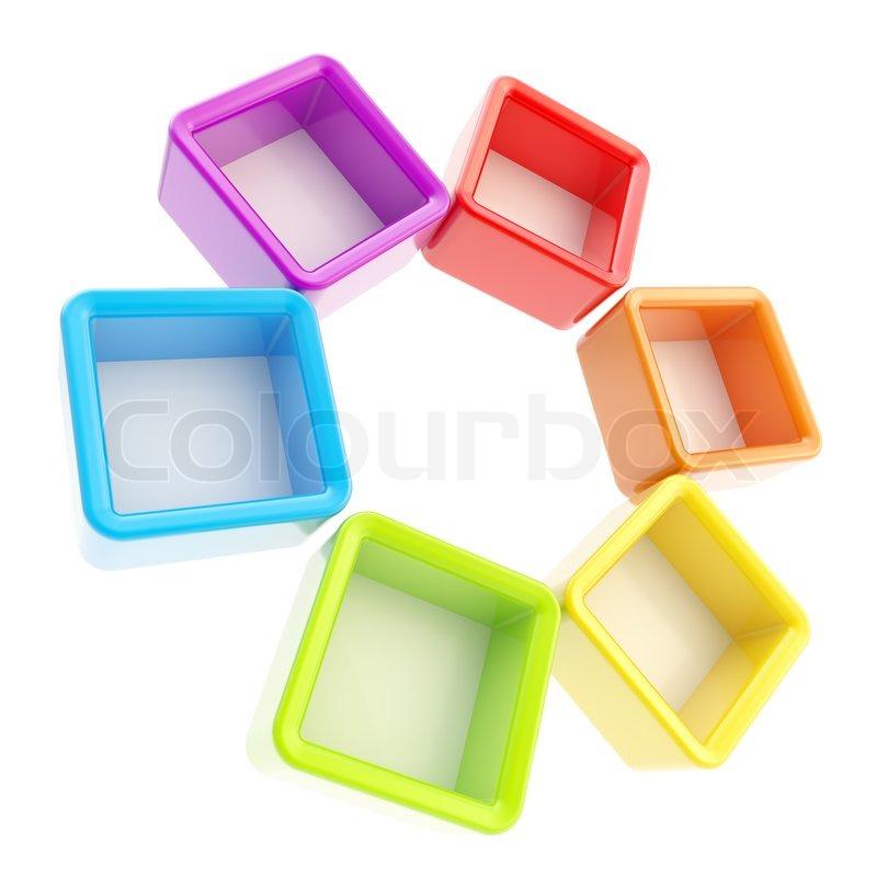 Kreis Runde Rahmen der Regenbogen farbige Boxen isoliert   Stockfoto ...